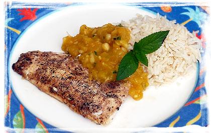 Jerk Fisch-Filets mit tropischer Salsa
