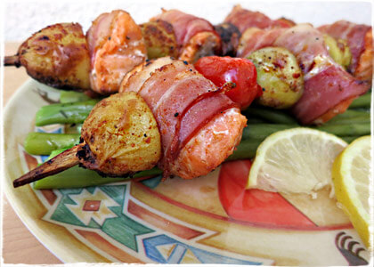 Loink-Spieße: Bacon+Lachs