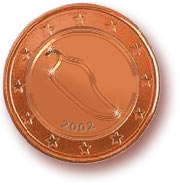 2, 5 und 10 Cent (Euro-Chili)