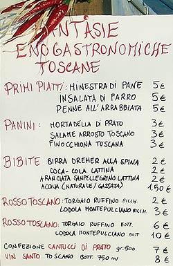 Toskana-Verpflegung, Speisekarte