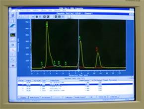 HPLC-Diagramm einer Chili-Probe: Die Spitzen geben die Konzentration der darin enthaltenen Capsaicinoide an. Diese ergeben des Scoville-Wert.