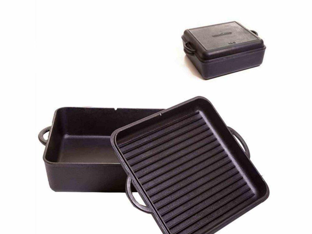 Eckiger Dutch Oven mit Deckel. Der Deckel lässt sich als Pfanne verwenden.