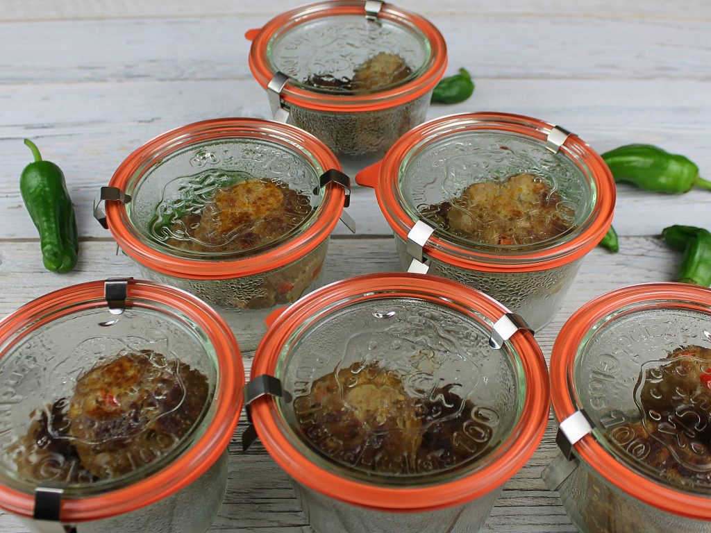 Chili-Frikadellen im Glas